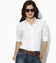 Wholesale Cotton Womens Shirts Classic - ralph Womens Casual Shirt Wholesale Solid Long Sleeve Classic Sports OL Polo Shirts for Ladies Girls Business Blouse Big Horse Logo S-XL