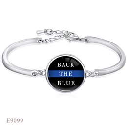 Wholesale Antique Glass Jewelry - ANTIQUE Silver Black Lives Matter Back The Blue Red Line Glass Dome Cabochon Bracelets For Women Girl Adjustable Friendship Jewelry
