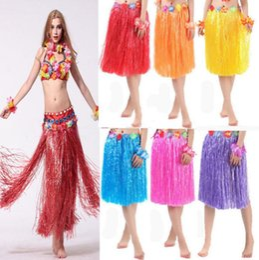 Wholesale Party Hawaii Dress - Hawaiian Grass Skirts Hawaii Kids Grass Dress Show Dance Activity Grass Hula Skirt Festive Party Supplies 8 Colors OOA2371