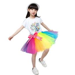 Wholesale Cheap Handmade Clothing - 2017 New Fluffy Handmade Tulle Skirt Rainbow Tutu Skirt Colorful Cheap Girl Clothing Ballet Dance Dress Baby Birthday Skirt