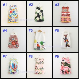 Wholesale Wholesale Kids Beach Clothing - 9 Style Girls INS Dresses 2017 Brand Autumn Winter Princess Dress Kids Clothes Graffiti Print Design sleeveless Baby Clothes 3-8Y B001