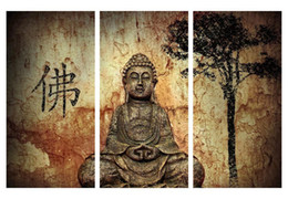 Wholesale Buddha Paintings Framed - Buddha Poster Print Painting (No Frame) Canvas Wall Art Decor Traditional Oil Painting HD Printed Poster 3 Piece