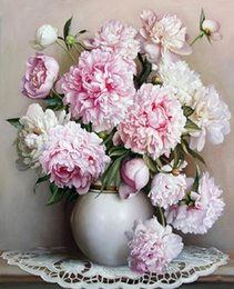 Wholesale Oil Acrylic Canvas - CHENISTORY Pink Europe Flower DIY Painting By Numbers Acrylic Paint By Numbers HandPainted Oil Painting On Canvas For Home Decor
