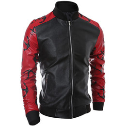 Wholesale White Leather Jacket Mens Motorcycle - Wholesale- New Style Mens Faux Fux Leather Jacket Male Coat Red White Sleeve Patchwork Designs Stand Collar Slim Fit Motorcycle Jackets Men