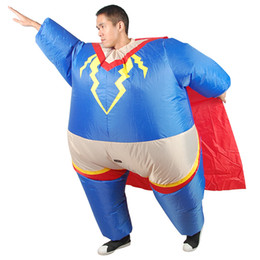 Wholesale Superman Mascot Costume - Adult Size Superman Hero Inflatable Costume Entertainment Fancy Dress Christmas Halloween Mascot Costumes for Women Men