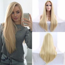Wholesale Long Blond Hair Wigs - Long Straight Lace front hair wig blond color glueless heat resistant synthetic lace front wig for black women silky straight synthetic wigs