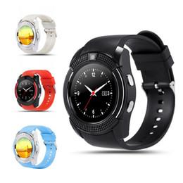Chips de teléfonos celulares online-V8 Circular PK U8 DZ09 A1 GT08 Cuadrado Bluetooth Android Reloj inteligente Cámara MTK Chip Micro Sim TF Smartwatch para teléfono celular