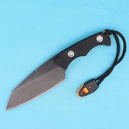 Wholesale Camping Whistles - Drop Shipping D2 Steel Stone Black Wash Blade Survival Straight Knife G10 Handle Outdoor Camping Tactical Gear With Survival whistle