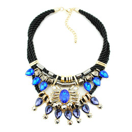 Wholesale vintage austrian crystal necklace - AAA Blue Austrian Crystals Chokers Necklace Vintage Gemstone Statement Necklaces Free Black Braided Rope Chain Necklaces