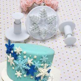 Wholesale Snowflakes Cake Mold Silicone - Wholesale- New 3Pcs Set Snowflake Fondant Cake decorating tools Cupcake Kitchen fondant Kitchen accessories Cake mold Stand cake baking