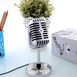 Wholesale Personalized Microphones - Hot sale 3.5mm Stereo Retro Microphone Classic Vocal Mic Studio Record For PC Laptop Computer Personalized Free Shipping