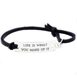 "Wholesale Wholesale Leather Stamps - ""Life Is What You Make Of It"" Novelty Silver Stamped Motivation Inspirational Bracelet Gifts For Women Men Girls Ladies"