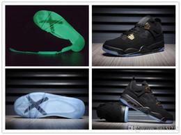 Brillar oscuro zapatillas de baloncesto online-Nike Air Jordan Retro Shoes Venta al por mayor nuevo 4 IV Negro oro zapatos de baloncesto Glow In The Dark Men Suede zapatillas de deporte de alta calidad tamaño EE.UU. 7 13