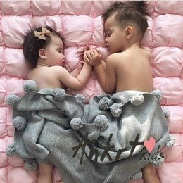 Wholesale Cotton Comforter Quilt - 2017 Children Nursery Bedding Blankets Swaddling New Baby Blanket Cotton Soft Air Condition Quilt Ball balls Grey Comforter 105*76CM A6524
