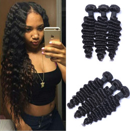 Wholesale Curl Human Hair Brown - Brazilian Deep Wave Curl 100% Unprocessed Human Virgin Hair Weaves 7A Quality Remy Human Hair Extensions Human Hair Weaves Dyeable 3 bundles