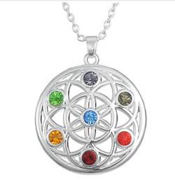 Wholesale energy plant - 10pcs lot new style seven colors Chakra Stones Yoga OM Mandala necklace potential healing energy necklace religious jewelry