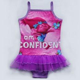 Wholesale Swimsuits For Baby Cartoons - New 2017 Fashion One Piece Girls Trolls Children Cartoon Swimsuit For Baby Kids Swim Bathing Suit Beachwear 3-9Y