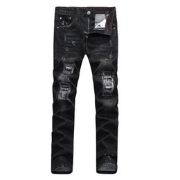 Wholesale Black Stretch Pants Small - Wholesale- NEW 2016 TOP QUALITY MEN KNEE HOLE RIPPED Y MOUSTACHE EFFECT BLACK JEANS,SMALL STRETCH PENCIL PANTS #PP8091#,SIZE 28 -36
