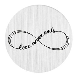 Wholesale Float Number - 22mm Brushed Stainless Steel Large Floating Living Memory Charm Locket Necklace Message Backplate Jewelry - Love Never Ends