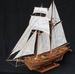 Wholesale Antique Models - Wholesale-Free shipping Scale 1 96 Classics Antique wooden sail boat model kits HARVEY 1847 wooden Ship Assembly kit