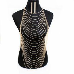 Wholesale Necklace Bohemian Tassel - hot sale fashion Exquisite European and American sexy bikini multi layer tassel chain necklace body jewelry