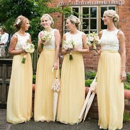 Wholesale Lemon Water - Country Bridesmaid Dress 2017 Lemon Yellow Lace Top Chiffon Skirt Bridesmaids Dresses Bateau Neck Sleeveless Custom Made Gowns for Weddings