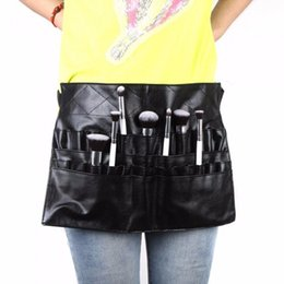 Wholesale Professional Make Up Belts - Black Two Arrays Makeup Brush Holder Professional PVC Apron Bag Artist Belt Strap Protable Make Up Bag Cosmetic Brush Bag ZA2030