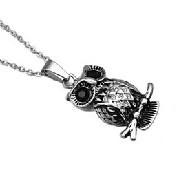 Wholesale Thin Stainless Steel Necklace Chain - 2017 Brand New Stainless Steel Thin Chain Rhodium Plated Owl Pendant Necklace For Women Vintage Jewelry Free Shipping