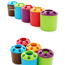 Wholesale Toothpaste Pens - Toothbrush Rack Creative Porous Couple Toothpaste Holder Multi Function Cylinder Shape Desk Top Pen Container Sundry Storage 1 7jy F R