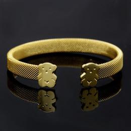 Wholesale Stainless Steel European Bracelets - European and American stainless steel bear cute silver open mesh bracelet