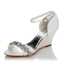 Wholesale Champagne Wedding Wedge Shoes - New 8cm Wedge sandal Dyeable Satin Wedding Dress Shoes With Rhinestone Elegant with Bow Women Shoes Bridal Shoes For Wedding