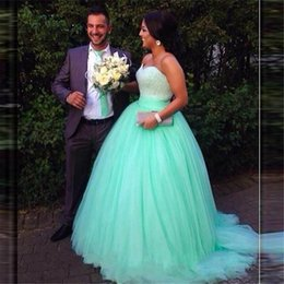 Wholesale Mint Quinceanera - Masquerade Ball Gown Quinceanera Dresses 2017 Sweetheart Puffy Prom Dresses Sweet Sixteen Dress 15 Ano Mint Green Heavy Beaded Dresses