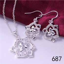 Wholesale Wholesale Gemstones Jewelry China - Brand new women's gemstone sterling silver jewelry sets mix style same price,wedding 925 silver Necklace Earring jewelry set GTS32