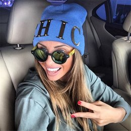 Wholesale Chic Winter Women Fashion - CHIC Winter Women Beanies Skullies Metal Gold Letters Knitted Hat Female Brand Beanies Cap Casual Solid Color Hats