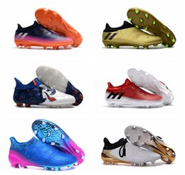 Wholesale Mens Messi Shoes - 2017 ace 16 soccer cleats mens soccer shoes black Messi 16 + Pureagility FG football boots purechaos x 16 messi cleats laceless boots cheap