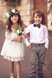 Wholesale Cheap Mini Christmas Lights - 2017 Ivory Flower Girl Dresses Cheap Full Lace Communion Gowns Simple Design 18 Months Short Girls Dress With Sleeves