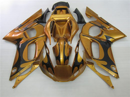 Wholesale Motorcycle Plastic Yamaha R6 - Motorcycle plastic fairings for Yamaha YZF R6 98 99 00 01 02 gold black fairing kit YZFR6 1998-2002 OT41