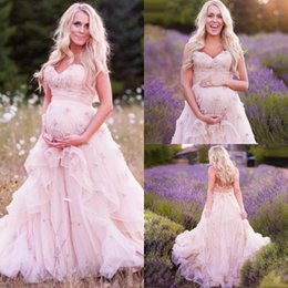 Wholesale Bohemian Style Wedding Dresses - Country Western Maternity Wedding Dresses with Flowers A-line Sweetheart Neckline Bohemian Style Rustic Blush Pink Plus Size Bridal Gown
