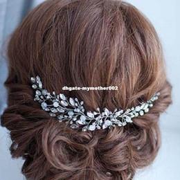 Wholesale Hair Flower Women - Handmade Beads Crystal Bridal Hair Flower Rhinestone Hair Jewelry Prom Headdress Headpieces Women Girls Wedding Hair Accessories