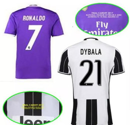 Wholesale Madrid Away - Final Cardiff 17 18 National Stadium of Wales Dybala home Vs Madrid Soccer Jersey Away Purple Benzema Ronaldo Bale Real james Dybala Footbal