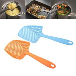 Wholesale Nylon Utensils - Wholesale- Scoop Colander Nylon Spoon Strainer Kitchen Tool Cooking Utensils ShovelsTool Silicone Strainer Drain Noodles Pasta Scoop Basket