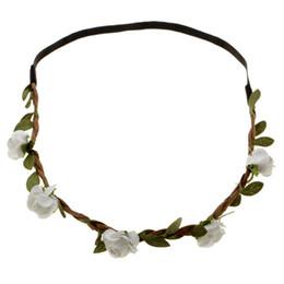 Wholesale Elastic Wedding Headband - While Rose Wedding Accessories Bohemian Boho Hairpink Crystal Flower Wedding Tiara Women Wedding Elastic headband With Flowers