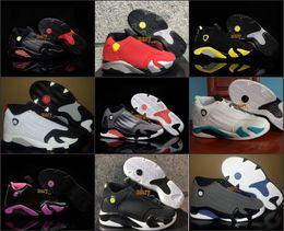 Wholesale Navy Boys - Kids Retro 14 Carolina Blue Black Toe Graphite Navy Thunder Indiglo Basketball Shoes 14s Last Shot Sneakers For Boys Girls Size 28-35