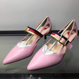 Wholesale Bridel Wedding Dress - Hot Sell Candy Color Bamboo Middle Heel Strawberry 5cm Bowtie Women Dress Shoes Ladies Wedding Pumps Genuine Leather Bridel Prom Party Shoes