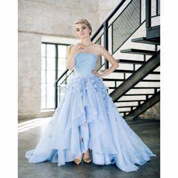 Wholesale Elegant Baby Dress Organza - Gorgeous Baby Blue Garden Wedding Dresses 2017 with Flowers Elegant Strapless Organza Formal Bridal Dress China Wedding Gowns