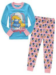 Wholesale Cartoons Smurfs - Free shipping Cotton cartoon Kids The Smurfs Pajama Sets Clothes girl sleepwear pyjamas