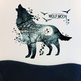 Vinilos de pared lobos online-Wolf Moon Wall Stickers - Material de PVC Dark Forest DIY Animal Wall Poster Decor para habitaciones de niños Decoración Arte Mural