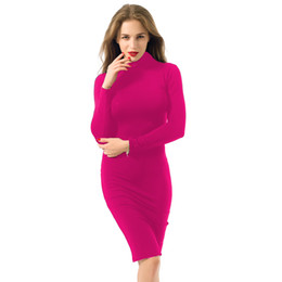 Wholesale Pencil Flare - Women Spring Autumn Solid Long Sleeve Pencil Dress Sexy Bodycon Middle Dress Plus Sizes Turtleneck Party Dress Mini Slim Bandage YD1028