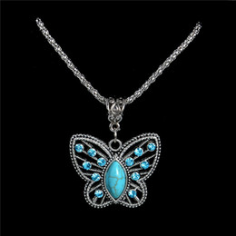 Wholesale Sweater Necklace Hollow Butterfly - Wholesale-Free Shipping 1PC Women Jewelry Cute Hollow Butterfly Pendant Retro Turquoise Stone Necklaces Sweater chain