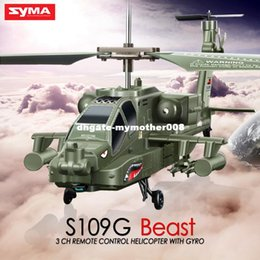 Wholesale Rc Apache - Newest Original SYMA S109G 3CH RC Attack Helicopter AH-64 Apache Helicopter Simulation Indoor Radio Remote Control Toys for Gift
